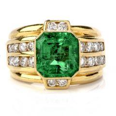 Estate Diamond Colombian Emerald 18K Gold Bezel Channel Band Ring
