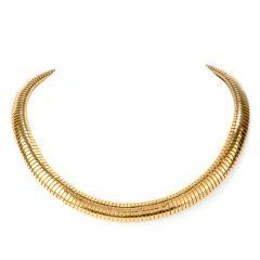 Vintage 18K Yellow Gold Flexible Collar Necklace