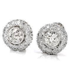 Estate Diamond Platinum Old European Cut Halo Clip-On Earrings