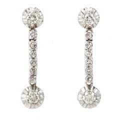 Vintage Diamond Platinum Dangle Drop Line Earrings
