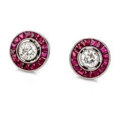 Estate Diamond Ruby Platinum Round Cut Bezel Halo Stud Earrings