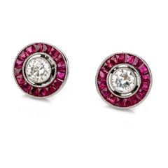 Estate Diamond Ruby Platinum Round Cut Bezel Halo Stud Earrings