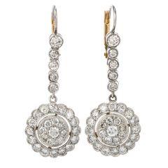 Vintage Diamond Platinum Round Cluster Dangle Drop Earrings