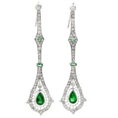 Estate Diamond Emerald Platinum Deco Drop Dangle Long Earrings