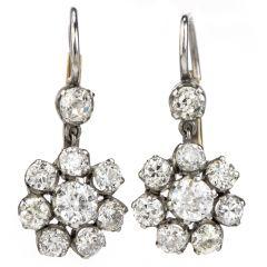Vintage 3.40ct Diamond Platinum Old European Drop Dangle Earrings