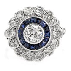 Estate Diamond Sapphire Platinum Old European Cut Cluster Ring
