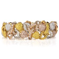 19.68ct GIA Certified  Fancy Yellow, Pink & White Diamond 18K Gold 3-Tone Heart Bracelet