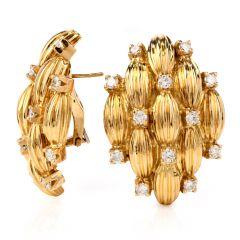 Retro Diamond 18K Yellow Gold Clip Back Earrings