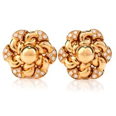 Bvlgari Vintage  Floral  Diamond Clip-Back Yellow Gold Earrings