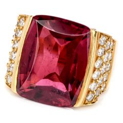 Estate Diamond & Pink Tourmaline 18K Gold Cocktail Ring