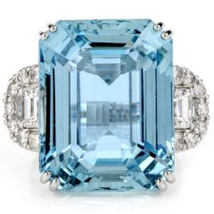 Estate 37.6 Carat Santa Maria Aquamarine Diamond 18K Cocktail Fashion Ring