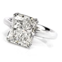 Estate 5.03 Carat Radiant Cut GIA Certified Diamond Platinum Engagement Ring