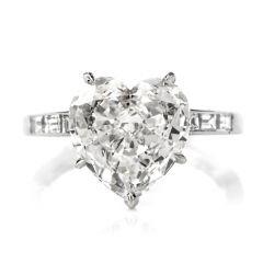 Estate 3.05 Carat Heart Shaped GIA Diamond Platinum Engagement Ring