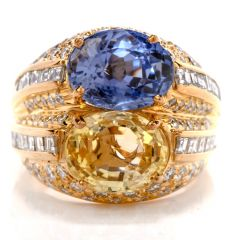 GIA Natural No Heat Sapphire Diamond 18K Gold Cocktail Ring
