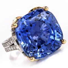 GIA Certified Ceylon No Heat 35.34 carat Sapphire Diamond Platinum 18K Ring