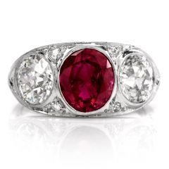 Antique Deco Diamond GIA Natural Ruby Platinum Three Stone Ring