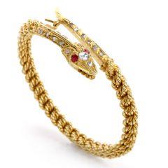Vinatge Snake Diamond Ruby 18k Yellow Twisted Bangle Bracelet