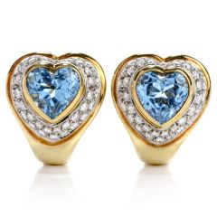 Modern Diamond Heart shape Blue Topaz 18K Yellow Gold Clip-back Earrings