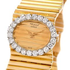 Chopard Boutique Vintage 1960 18k High Polish Gold Bracelet Diamond Watch Ref 5052