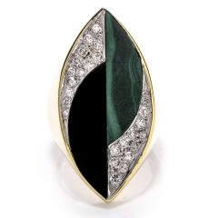 La Triomphe Vintage 1970s 18K Gold Malachite Onyx Diamond Long Cocktail Ring
