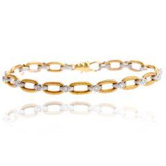 Vintage Solid 18k Gold Platinum Diamond Link Bracelet