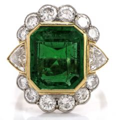 Vintage Certified Colombian Emerald Diamond 18k gold Platinum Cocktail  Ring