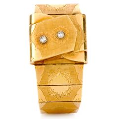 Estate Omega Diamond 18K Gold Covered Watch