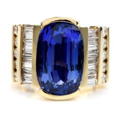 GIA Tanzanite Diamond 18K Yellow Gold Wide Heavy Retro Ring