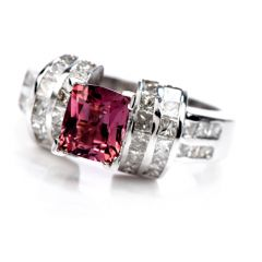 GIA 1.03 carat Pink Sapphire Diamond 18K Gold Engagement Ring