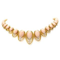 Estate Vintage 70s Diamond Coral 14K Gold Oval Graduated Necklace