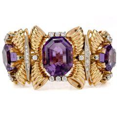 Estate Vintage 50s Diamond Amethyst 18K Gold Bangle Bracelet