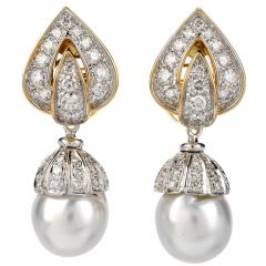 Estate Piaget Diamond Pearl 18K Gold Day & Night Clip-On Earrings