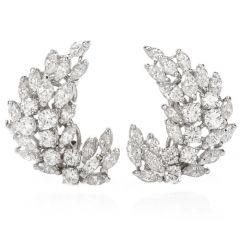 Estate Diamond Platinum Marquis Round Cluster Clip Back Earrings