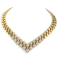 JS Designer 11.00ct Diamond 18K Yellow Gold Graduated Link Necklace