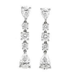 Tiffany & Co. 2.25ct Diamond Platinum Drop Dangle Earrings