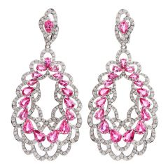 Estate 16.48 carats Pink Sapphire Diamond 18K Gold Floral Dangle Earrings