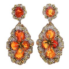 Estate Fire Opal Yellow Sapphire Diamond 18K Gold Flower Dangle Earrings