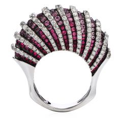 Estate 5.55 carats Pink Sapphire Diamond 18K Gold Shell Cocktail Ring