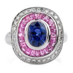 Estate Diamond Blue & Pink Sapphire 18K Gold Cushion Cocktail Ring