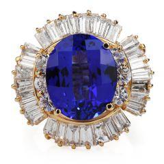 Estate Diamond Tanzanite 14K Gold Ballerina Cocktail Ring