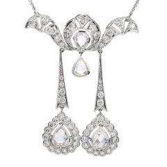 Italian Rose Cut Diamond 18K Gold Dangle Flower Pendant Necklace