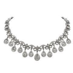 Estate Rose cut Diamond 18K Gold Edwardian Style Link Necklace