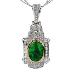 Estate Diamond Emerald 18K Pendant 14K Chain Necklace
