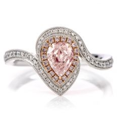 GIA certified Natural Fancy Light Pink Diamond 18K Engagement Cocktail Ring