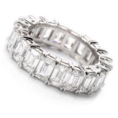 6.09 Carats GIA Emerald Cut Diamond Platinum Eternity Band Ring Size 6