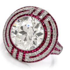 Vintage Art Deco 6.05ct Old European Cut Diamond Ruby Platinum Ring