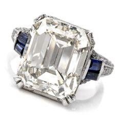 GIA 11.06ct Diamond Sapphire Platinum Emerald Cut Filigree Engagement Ring