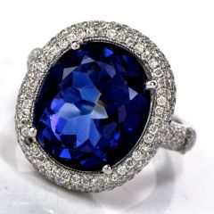 Estate Diamond Tanzanite 18K Gold Oval Halo Cocktail RIng