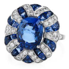 GIA No Heat Blue Sapphire & Diamond Platinum Retro Cocktail Ring.