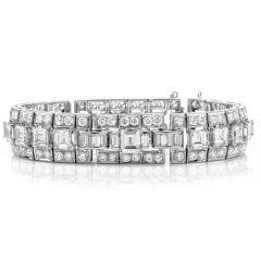 Vintage 23ct Diamond Platinum Deco Emerald & Asscher Cut Link Bracelet
